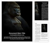 Free Ape Gorilla Word Template Background, FreeTemplatesTheme