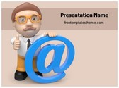 Free At Sign PowerPoint Template Background, FreeTemplatesTheme