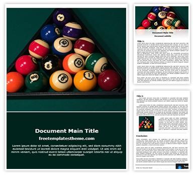 Billard Table Balls Free Word Template, freetemplatestheme.com