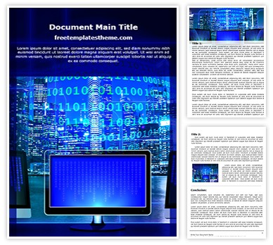 Binary Monitor Free Word Template, freetemplatestheme.com