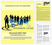 Free Business Woman Leader Word Template Background, FreeTemplatesTheme