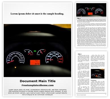 Car Dashboard Meters Free Word Document Template, freetemplatestheme.com