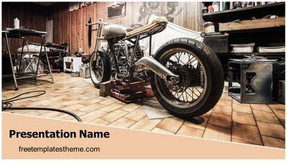 Classic Motorbike Garage Free Powerpoint Template Theme Widescreen, FreeTemplatesTheme