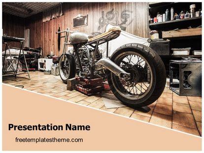Classic Motorbike Garage Free Powerpoint Template Theme, freetemplatestheme.com