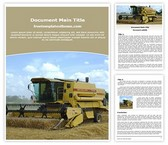 Free Combine Harvester Word Template Background, FreeTemplatesTheme