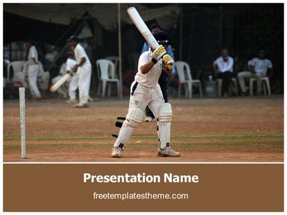 free cricket batsman powerpoint template | freetemplatestheme, Powerpoint templates