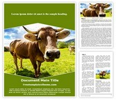 Free Farm Cow Word Template Background, FreeTemplatesTheme