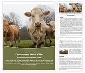Free Farm Cows Word Template Background, FreeTemplatesTheme