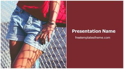 Female Shorts Free Powerpoint Background Widescreen, FreeTemplatesTheme