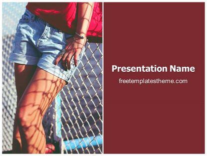 Female Shorts Free Powerpoint Background, freetemplatestheme.com