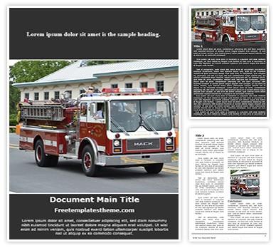 Fire Engine Free Word Document Template, freetemplatestheme.com