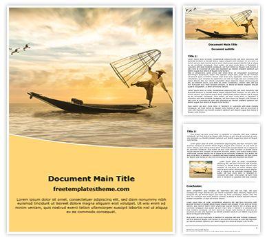 Fisherman Free Word Document Template, freetemplatestheme.com