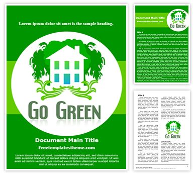 Go Green Free Word Doc Template, freetemplatestheme.com