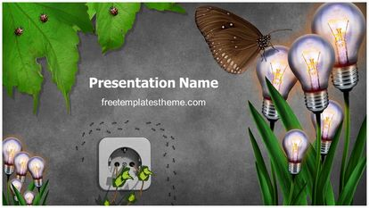 Green Electric Energy Free Powerpoint Template Widescreen, FreeTemplatesTheme