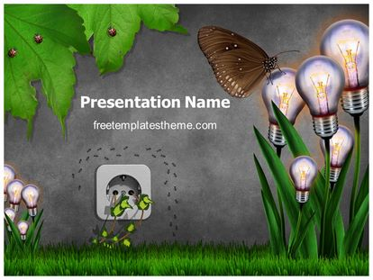 Green Electric Energy Free Powerpoint Template, freetemplatestheme.com