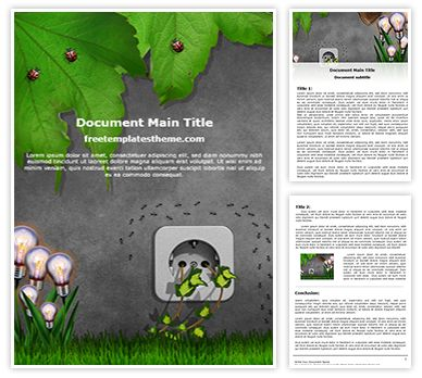 Green Electric Energy Free Word Template Design, freetemplatestheme.com