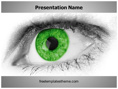 Free green eye powerpoint template freetemplatestheme slide1g toneelgroepblik Image collections