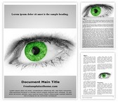 Free Green Eye Word Template Background, FreeTemplatesTheme