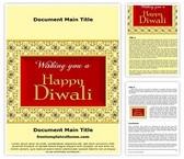 Free Happy Diwali Card Word Template Background, FreeTemplatesTheme