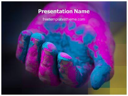 Holi Colorful Hand Free PPT Template, freetemplatestheme.com