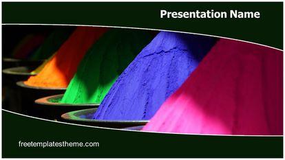 Holi Colors Free PPT Background Template Widescreen, FreeTemplatesTheme