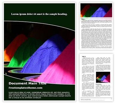 Holi Colors Free Word Document Template, freetemplatestheme.com