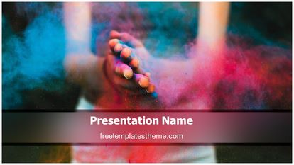Holi Festival Free PPT Template Design Widescreen, FreeTemplatesTheme