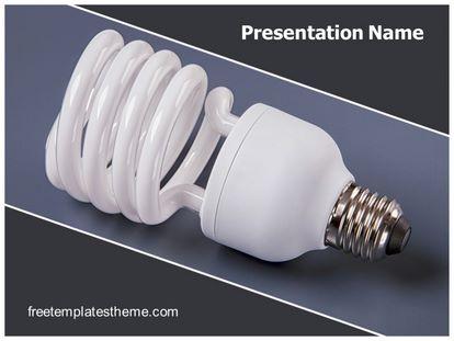 Light Bulb Cfl Free Powerpoint Template, freetemplatestheme.com