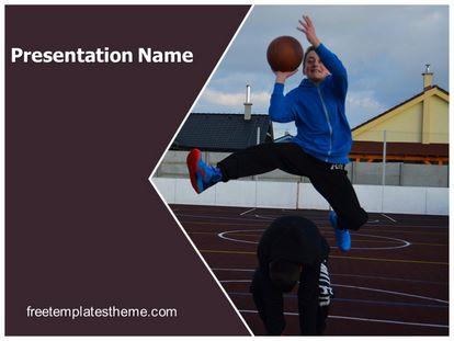 Free Playing Basketball Powerpoint Template Freetemplatestheme