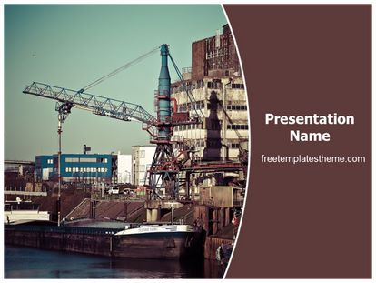 Free Port Industry PowerPoint Template | freetemplatestheme.com