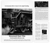 Free Steam Engine Train Word Template Background, FreeTemplatesTheme