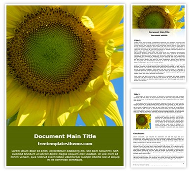 Free Sunflower Word Template