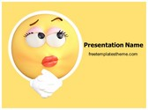 Free Thinking Emoticon PowerPoint Template Background, FreeTemplatesTheme